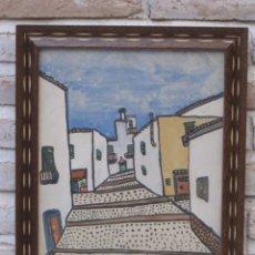 Arte: DIBUJO ORIGINAL POPULAR EN COLOR - TIPO NAIF - CALLE DE IBIZA ( ISLAS BALEARES ). Lote 134774906
