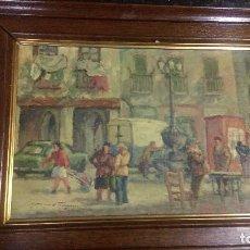 Arte: B-66.- CUADRO AL OLEO DE - GARCIA ESTRAGUES ,75.- PLAZA DEL PUEBLO.- ORIGINAL . Lote 134814998