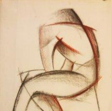 Arte: PRECIOSO DIBUJO CARBONCILLO Y SANGUINEA. SILUETA DE MUJER. FIRMADO ROS GARRÓ. AÑO 1988. Lote 134848446