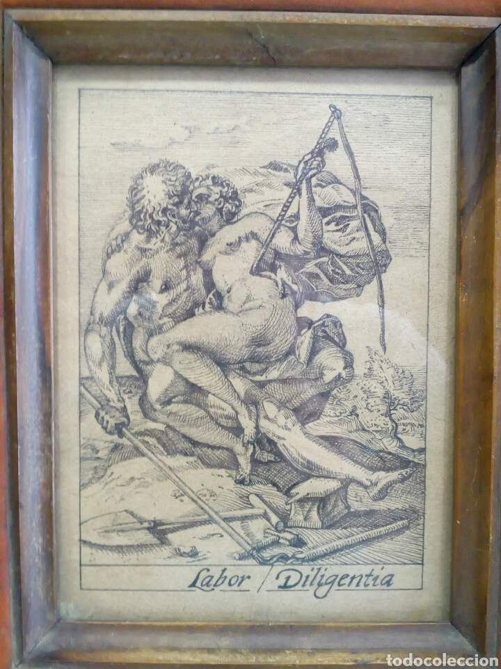 Arte: DIBUJO TINTA ORIGINAL SIGLO XIX, ARES Y VENUS, DESNUDO FEMENINO, CLASICISMO - Foto 2 - 135029702