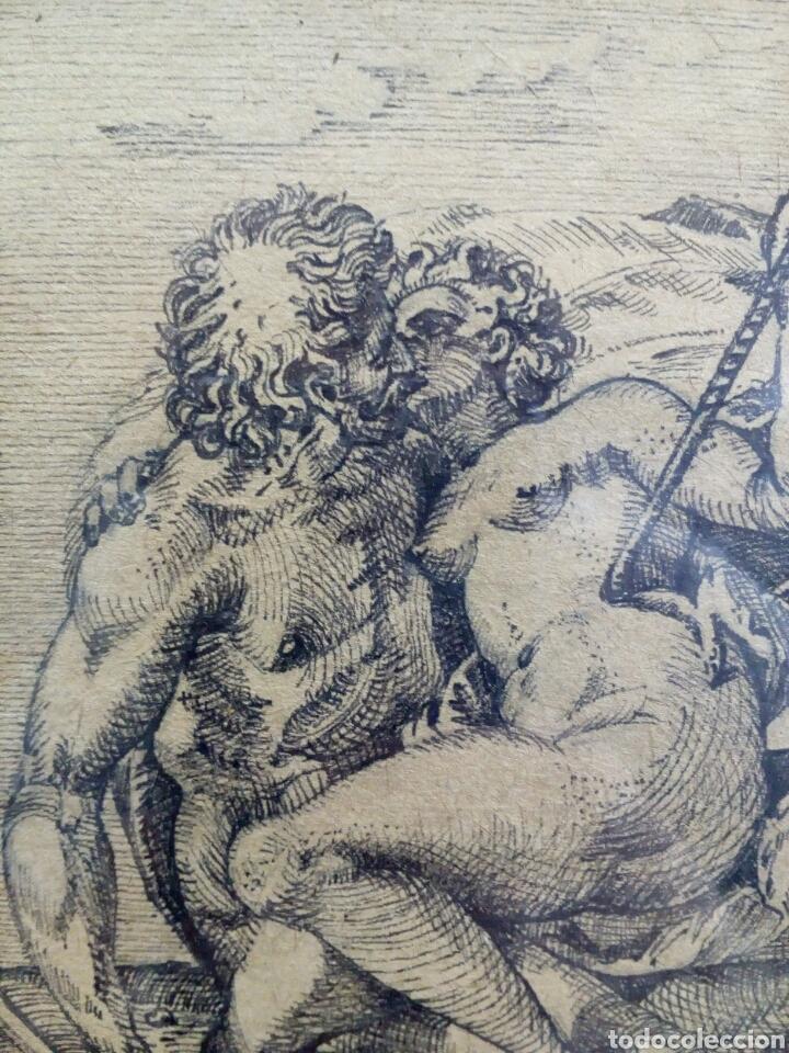 Arte: DIBUJO TINTA ORIGINAL SIGLO XIX, ARES Y VENUS, DESNUDO FEMENINO, CLASICISMO - Foto 3 - 135029702