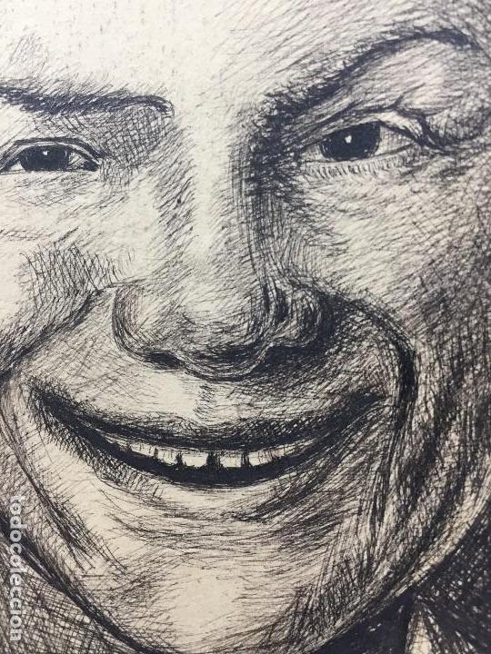 Arte: dibujo plumilla tinta dedicado firmado A garrido muchacho sonriendo retrato 1ª mitad s XX 22,5x15,5c - Foto 2 - 135156094