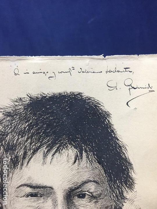 Arte: dibujo plumilla tinta dedicado firmado A garrido muchacho sonriendo retrato 1ª mitad s XX 22,5x15,5c - Foto 3 - 135156094