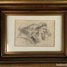 Arte: ANCIANOS. DIBUJO AL CARBÓN SOBRE PAPEL. ELISEU MEIFREN. SIGLO XIX-XX. . Lote 135182906