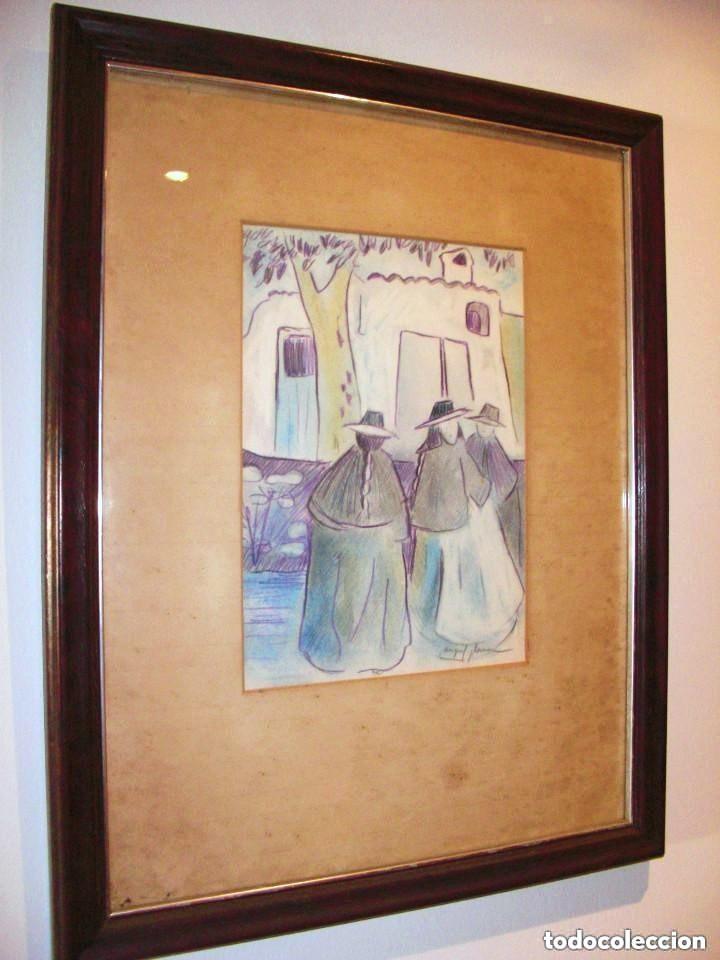Miquel Plana i Corcó (Olot, 1943-2012) Téc mix/papel 26 x 20 cm. Ibicencas. Firmado. Enmarcado. segunda mano