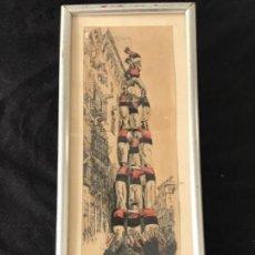 Arte: DIBUJO A TINTA Y ACUARELA DE LOS CASTELLERS, VELLA DE VALLS. ANÓNIMO 1950'S. . Lote 135668299