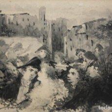 Arte: EUGENIO LUCAS VILLAAMIL (MADRID, 1858 - 1919) AGUADA SOBRE CARTULINA. PERSONAJES GOYESCOS. Lote 204456405