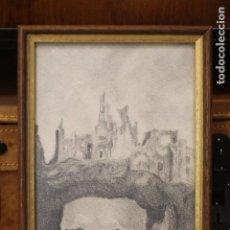 Arte: INTERESANTE DIBUJO A LAPIZ Y CARBONCILLO, ANÓNIMO, BUENA CALIDAD. 31X19CM ENMARCADO. Lote 135820158