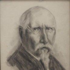 Arte: ANTIGUO DIBUJO RETRATO DE SEÑOR CON BARBA, A LAPIZ Y CARBONCILLO SOBRE PAPEL, FIRMADO. 24X33CM. Lote 135832686