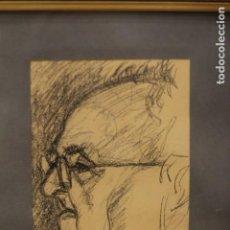 Arte: ANÓNIMO. DIBUJO A CARBONCILLO , PERFIL MASCULINO, ESTUDIO DE CABEZA. ENMARCADO. 34X44CM. Lote 135834198