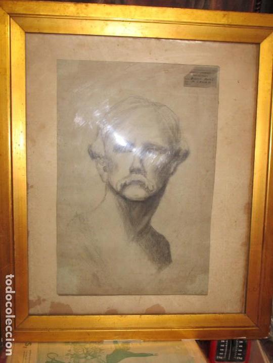 ÀNTIGUO DIBUJO RETRATO ORIGINAL FIRMADO M . CRUMP ESTADOS UNIDOS BOSTON SIGLO XIX (Arte - Dibujos - Modernos siglo XIX)