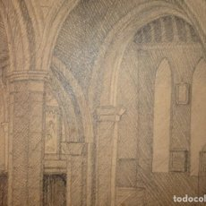 Arte: CATEDRAL ANTIGUO DIBUJO FIRMADO CIRCA 1903. Lote 135898362
