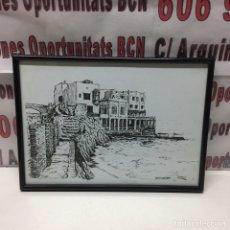Arte: CUADRO CARBONCILLO MONT CALVARI DE ARENYS DE MAR DE 1975. Lote 136003232