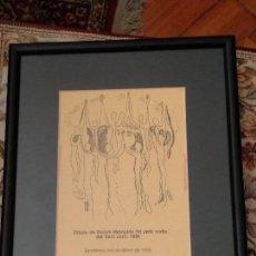 Arte: COPIA DE DIBUIX EMMARCAT DE DOLORES MEZQUIDA - FET AMB MOTIU SANT JORDI 1994. Lote 136369178