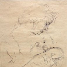 Arte: PERE CRÉIXAMS I PICÓ (BARCELONA, 1893 - 1965) DIBUJO A TINTA FIRMADO. MATERNIDAD. Lote 136412646