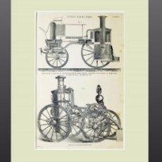 Arte: 1878 - INGENIERIA GRABADO ANTIGUO ORIGINAL CON PASSEPARTOUT DOBLE. Lote 136599070