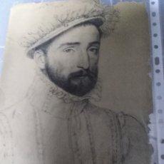 Arte: DIBUJO A CARBONCILLO FELIPE EL HERMOSO ISABEL LA CATÓLICA POR DETRÁS. Lote 136739326