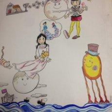 Arte: ILUSTRACIÓN ORIGINAL EN COLOR DE PILA RIN, MEDIDAS 50X58CMS. Lote 136740962