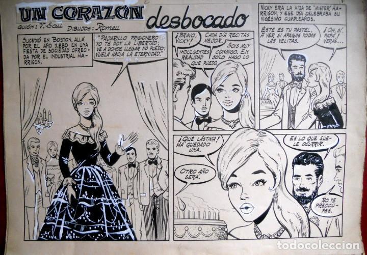 8 DIBUJOS ORIGINALES UN CORAZON DESBOCADO - AUTOR ROMEU Y GUION V. SAU (Arte - Dibujos - Contemporáneos siglo XX)