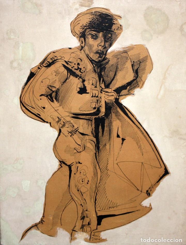 FIRMADO DARIO. TECNICA MIXTA SOBRE PAPEL Y ADHERIDO A TABLA. UN TORERO (Arte - Dibujos - Contemporáneos siglo XX)