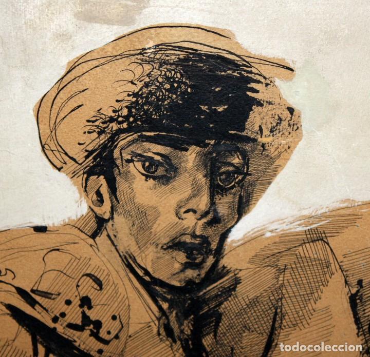 Arte: FIRMADO DARIO. TECNICA MIXTA SOBRE PAPEL Y ADHERIDO A TABLA. UN TORERO - Foto 3 - 137189154