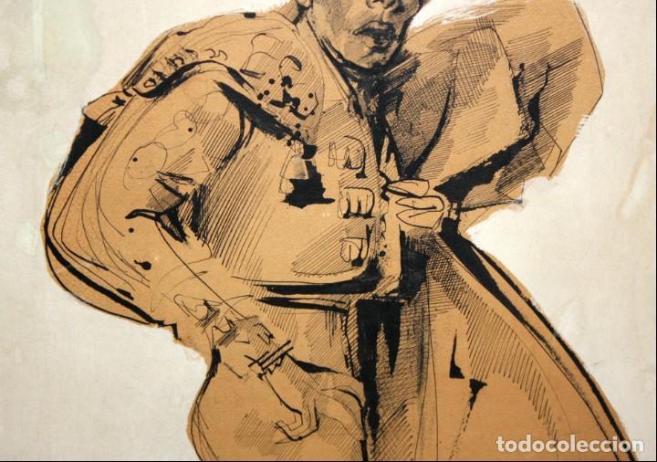 Arte: FIRMADO DARIO. TECNICA MIXTA SOBRE PAPEL Y ADHERIDO A TABLA. UN TORERO - Foto 4 - 137189154