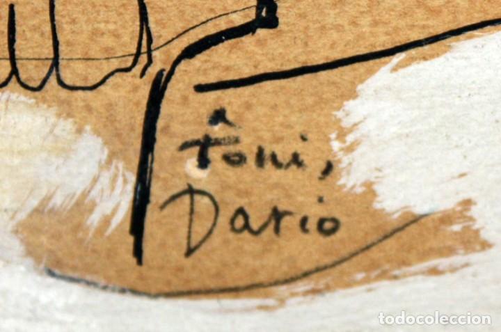 Arte: FIRMADO DARIO. TECNICA MIXTA SOBRE PAPEL Y ADHERIDO A TABLA. UN TORERO - Foto 5 - 137189154