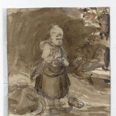 Arte: PRECIOSO DIBUJO EN PINCEL MARRON SOBRE LAPIZ DE ANTON BURGER (1824-1905) FIRMADO A LAPIZ SOBRE 1870. Lote 137326450