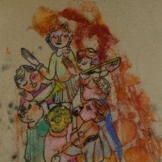 Arte: DIBUJO PASTEL Y CERAS CLASE DE MÚSICA FIRMADO MARIA VALLS FINALES SIGLO XX. Lote 137335802