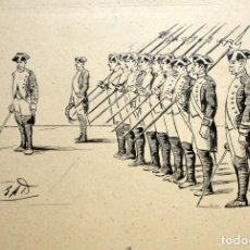 Arte: EUGENIO ALVAREZ DUMONT (1864 - 1927) DIBUJO A TINTA. CUERPO DE ALABARDEROS. Lote 137501266