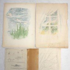 Arte: OLGA SACHAROFF (1889-1967) PAREJA DE DIBUJOS A LAPIZ PREPARATORIOS DEL LIBRO DONDE LAS LILAS CRECEN.. Lote 137676402