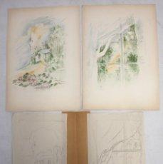 Arte: OLGA SACHAROFF (1889-1967) PAREJA DE DIBUJOS A LAPIZ PREPARATORIOS DEL LIBRO DONDE LAS LILAS CRECEN.. Lote 137677242