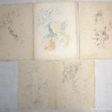 Arte: OLGA SACHAROFF (1889-1967) PAREJA DE DIBUJOS A LAPIZ PREPARATORIOS DEL LIBRO DONDE LAS LILAS CRECEN.. Lote 137678054