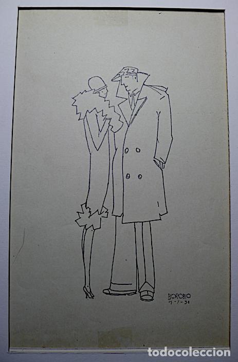 DIBUJO A TINTA SOBRE PAPEL FIRMADO BOROBIO (Arte - Dibujos - Contemporáneos siglo XX)