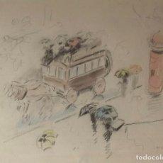 Arte: RICARD OPISSO SALA - LA DILIGENCIA - DIBUJO A COLOR. Lote 137805470