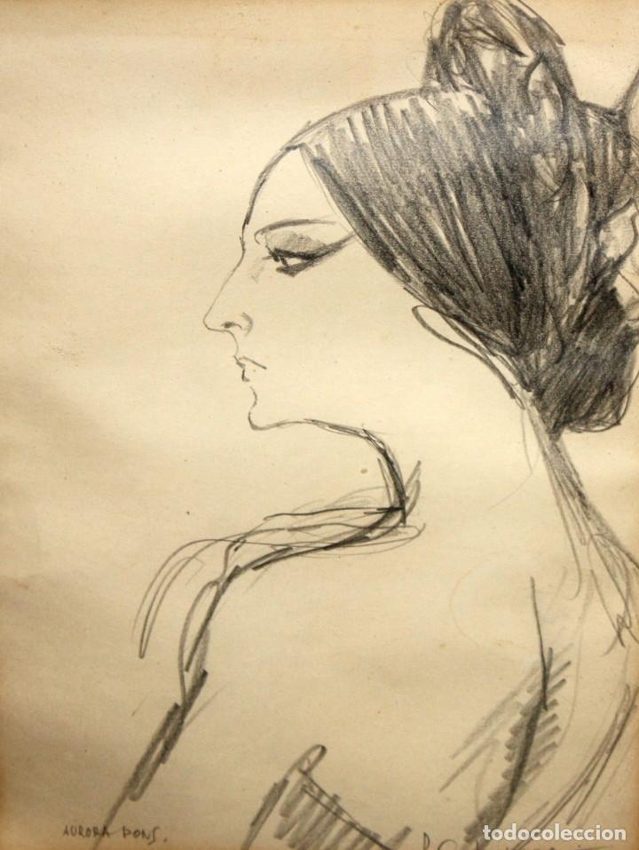 PERE CLAPERA ARGELAGUER (1906 - 1984) DIBUJO A LAPIZ. RETRATO DE AURORA PONS (Arte - Dibujos - Contemporáneos siglo XX)