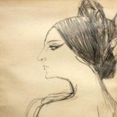 Arte: PERE CLAPERA ARGELAGUER (1906 - 1984) DIBUJO A LAPIZ. RETRATO DE AURORA PONS. Lote 137816682