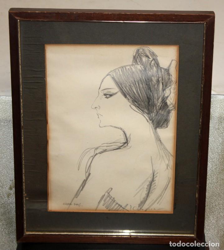 Arte: PERE CLAPERA ARGELAGUER (1906 - 1984) DIBUJO A LAPIZ. RETRATO DE AURORA PONS - Foto 2 - 137816682