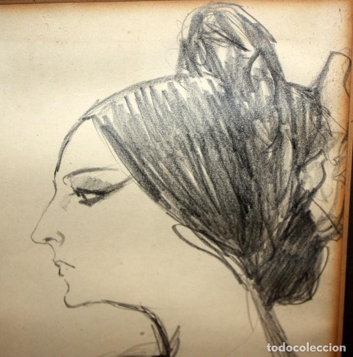 Arte: PERE CLAPERA ARGELAGUER (1906 - 1984) DIBUJO A LAPIZ. RETRATO DE AURORA PONS - Foto 6 - 137816682