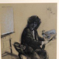 Arte: DIBUJO SOBRE PAPEL AUTORETRATO FIRMA FUENTETAJA, AÑO 1985, SITGES. Lote 137899282