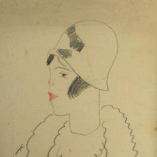 Arte: ROMÀ BONET SINTES (1886-1967) DIBUJO A LAS CERAS CARICATURA MUJER FIRMADO Y DEDICADO. Lote 138037090