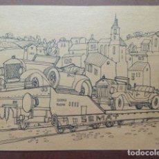 Arte: DIBUJO ORIGINAL A TINTA. VAGON DE TREN SEMAT CON COCHES ANTIGUOS. FIRMADO POR CARLOS PUENTE. . Lote 138109838
