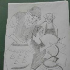 Arte: BOCETO DIBUJO LAPIZ PINTOR CANARIO ELIAS MARRERO. Lote 138746364