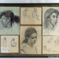 Arte: DIBUJOS AL CARBONCILLO ROSTROS Y DESNUDOS FEMENINOS MEDIADOS SIGLO XX. Lote 138812014