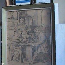 Arte: EXCELENTE DIBUJO ORIGINAL A LÁPIZ. EL BRINDIS. FIRMADO MIGUEL OJO. FINALES S.XIX, PRINCIPIOS S.XX.. Lote 138864438