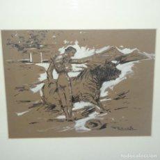Arte: DIBUJO A TINTA DE JOAQUIM TERRUELLA MATILLA.PASE DE MANOLETE.BUEN TRAZO.. Lote 138866954