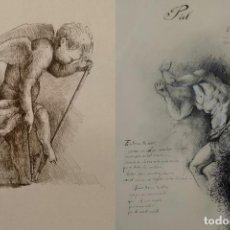 Arte: LOTE DE DOS DIBUJOS, ACOMPAÑADOS DE POSIAS, (DIBUJO A DOS CARAS), GRAN CALIDAD, 20X30CM. Lote 138976966
