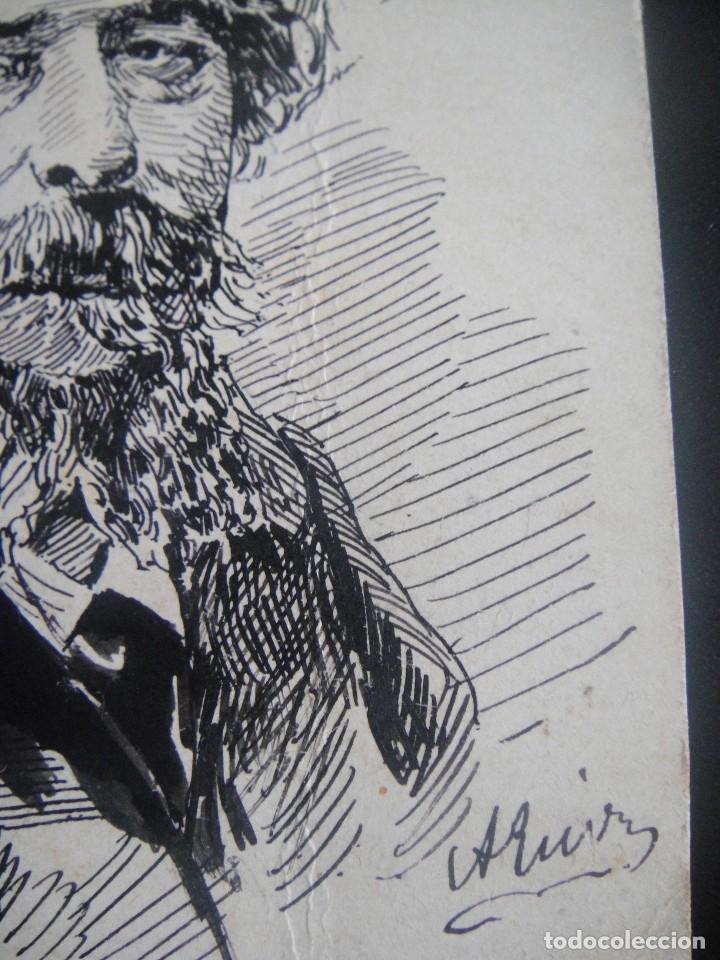 Arte: dibujo original a plumilla , alfonso daudet - firmado a. ruiz - barcelona 1891 - Foto 2 - 138978866