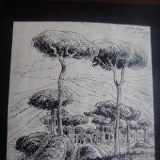 Arte: DIBUJO ORIGINAL A PLUMILLA , PAISAJE DE VALLVIDRERA - FIRMADO A. RUIZ - BARCELONA 1890 APROX. Lote 138981994