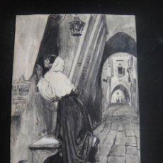 Arte: DIBUJO ORIGINAL A PLUMILLA Y LAPIZ , - FIRMADO ANGEL RUIZ - AÑO 1891. Lote 138983610